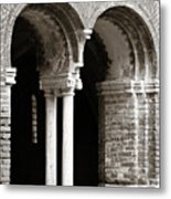 Red Brick Arches Black White Metal Print