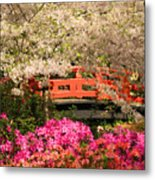 Red Bridge And Blossoms Metal Print