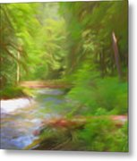 Red Bridge In Green Forest Metal Print