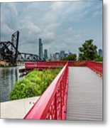 Red Bridge To Chicago Metal Print