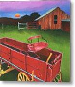Red Buckboard Wagon Metal Print