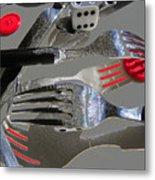 Red Button Impact Metal Print