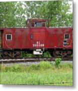 Red Caboose In The Rain Metal Print