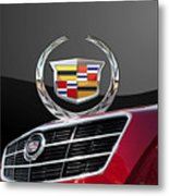 Red Cadillac C T S - Front Grill Ornament And 3d Badge On Black Metal Print by Serge Averbukh