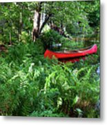 Red Canoe In The Adk Metal Print