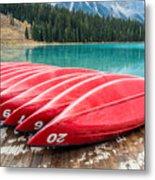 Red Canoes Of Emerald Lake Metal Print