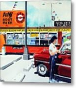 Red Car At The A And W Metal Print