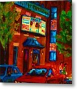 Red Car Blue Sky Metal Print