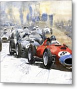 1957 Red Car Ferrari 801 German Gp 1957  Metal Print