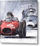 Red Car Ferrari D426 1958 Monza Phill Hill Metal Print