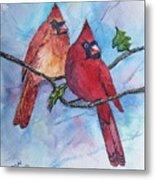 Red Cardinals Metal Print