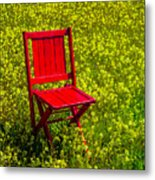 Red Chair Amoung Wildflowers Metal Print