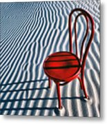 Red Chair In Sand Metal Print