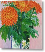 Red Chrysanthemums Metal Print