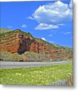 Red Cliffs And White Clouds Over Interstate 80 Rest Stop In Utah  Metal Print