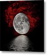 Red Cloud With Moon Over Water Metal Print