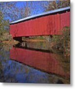 Red Covered Bridge And Reflection Metal Print
