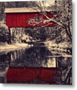 Red Covered Bridge In Winter Metal Print