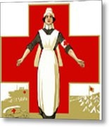 Red Cross Nurse - Help Metal Print