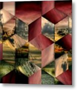 Red Cube Textures Metal Print