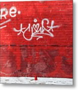 Red Cup Red Wall Metal Print