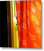 Red Curtain In The Doorway Metal Print