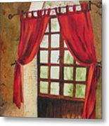 Red Curtain Metal Print