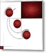 Red Curvature Metal Print