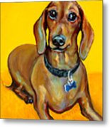 Red Dachshund - Tigger Smiles Metal Print