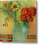 Red Daisies In Green Glass                                 Copyrighted Metal Print