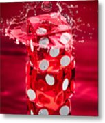 Red Dice Splash Metal Print