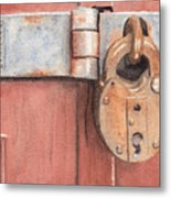 Red Door And Old Lock Metal Print