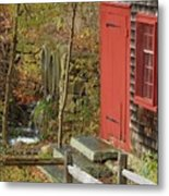 Red Door At The Grist Mill In Fall 2017  Metal Print
