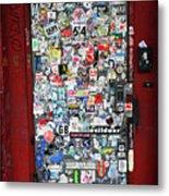 Red Doorway With Stickers Metal Print