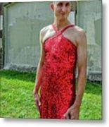 Red Dress Run - Nola 7 Metal Print