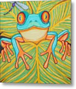 Red Eyed Tree Frog And Dragonfly Metal Print