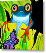 Red Eyed Tree Frog And Purple Butterfly Metal Print