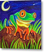 Red-eyed Tree Frog And Starry Night Metal Print