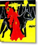 Red Faerie And Black Wolf With Yellow Moon Metal Print