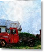 Red Farm Truck Metal Print