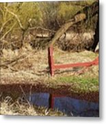 Red Fence Metal Print