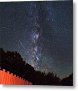 Red Fence Milky Way Metal Print