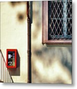 Red Fire Box With Window, Shadows And Gutter Metal Print