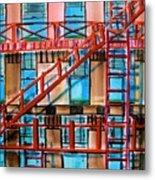 Red Fire Escape Metal Print