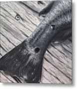 Red Fish Painted Black Metal Print