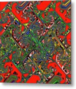 Red Five Wave Abstract Metal Print