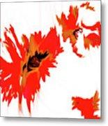 Red Floating Florals Metal Print