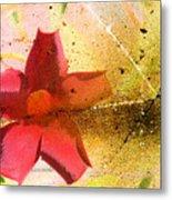 Red Floral Grunge Metal Print