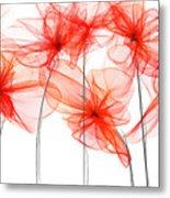 Red Floral - Red Modern Art II Metal Print