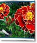 Red Flower In Autumn Metal Print